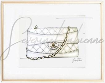 DOWNLOAD TO PRINT fashion illustration /  White Chanel bag  A4 Size