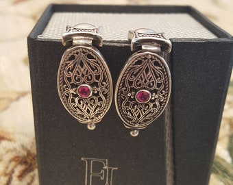 Byzantine Earrings handcrafted in Sterling Silver with zircon