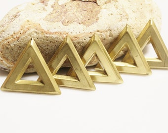 Large Raw Brass Triangle Brass Pendants, Brass Stamping Made in USA, Geometric Pendants (AE148)