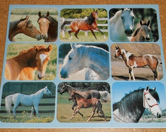 Gibson Greetings Stickers Vintage Horses