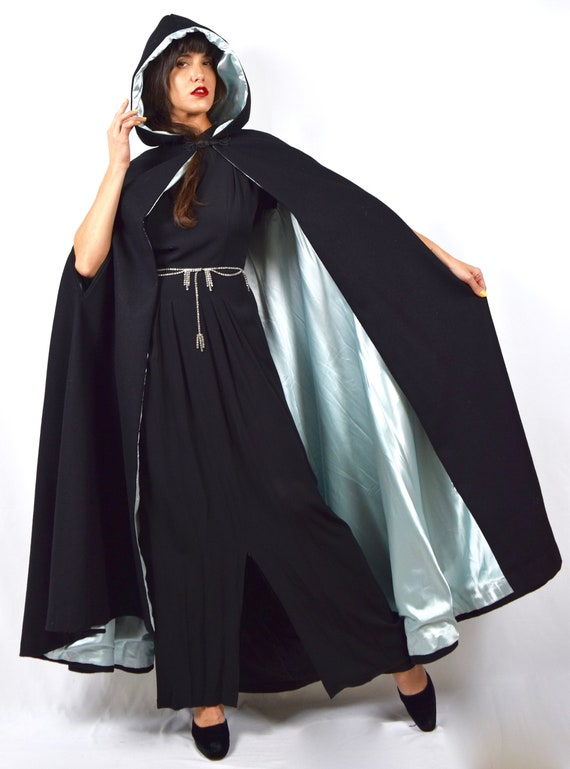 Vintage 40s 50s Jet Black Wool Hooded Floor Length Cloak with Icy Blue Satin Lining