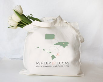 Custom Personalized Destination Wedding Tote, Guest Welcome Bag, Wedding Welcome Tote, Custom Wedding Tote Bag, any city state or country