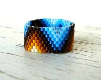 Multi Colored Beaded Ring Native American Inspired Southwestern Jewelry Brown and Blue Ombre ZigZag Bead Weaving Made To Order