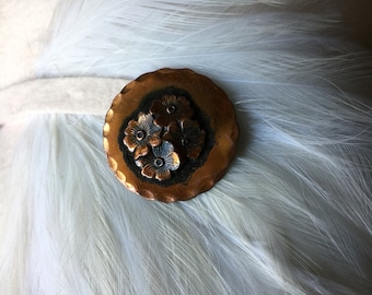 Vintage Round Copper Flower Brooch Pin