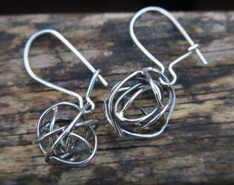 Silver Braided Earrings, Silver Knot Earrings, Sterling Silver Earrings, Silver Ball Earrings, Everyday Earrings