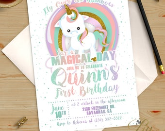 Pastel and Gold Magical Unicorn Birthday Invitation Printable DIY No. I299
