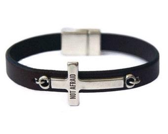 Leather Bracelet with Cross Men's Leather bracelet Inspirational Jewelry Silver Sideways Cross Bracelet Bible Quote