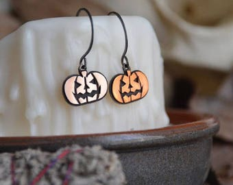 Hocus Pocus Stamped Jack-O-Lantern Pumpkin Earrings for Halloween in Sterling Silver and Copper
