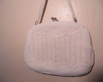 Vintage Small White Beaded Handbag Formal Wear Retro Mid Century Dainty Purse Snap Closure 1950's Style