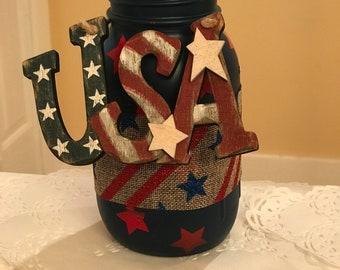 USA Mason Jar Vase