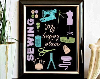 Sewing Room Printable Wall Art - My Happy Place Quote Wall Decor - Craft Room Sign - Sewing Accessories - Colorful Artwork