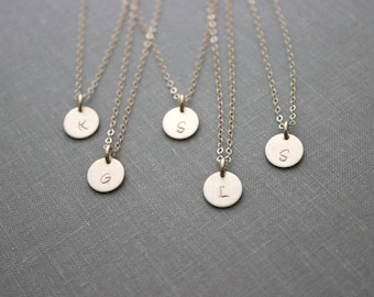 personalized Gold Fill Bridal Set of Initial Jewelry 14k Gold Filled Initial Necklaces Simple Monogram Single Charm - Bridesmaid Necklaces