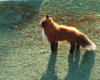 Handmade Animal Sculpture / Red Fox  / Needle Felted Miniature / Poseable One of a Kind