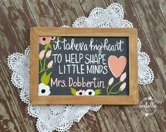 Teacher Appreciation Sign, Chalkboard Sign, Floral Sign, Hand Lettered Sign, Teacher Gift, Quote Art, Hand Lettered Gift, Noabella Creates