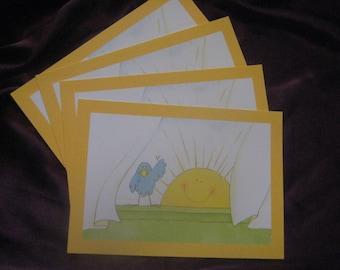 Let the Sun Shine Vintage Postcards by Hallmark Sun and Bird