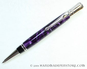 Parker Duofold Style - Handmade VIOLET acrylic pen with RHODIUM