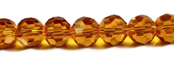 Orange Crystal Beads 8mm Round Faceted Chinese Crystal Glass Beads for Jewelry Making on an 8 1/2 Inch Strand with 33 Beads