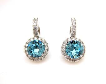 bridal earrings wedding jewelry prom AAA cubic zirconia deco swarovski round aquamarine rhinestone white gold click style lever back hoop