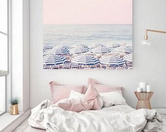 Beach Wall Art, Aerial Beach Print, Beach Umbrella Art Print, Blue wall decor, Large Art print, Beach Photography Print, Wedding GIft
