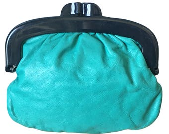 Vintage Small Teal Leather Kisslock Purse