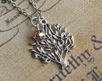 Silver Tree Necklace with or without bead or birthstone