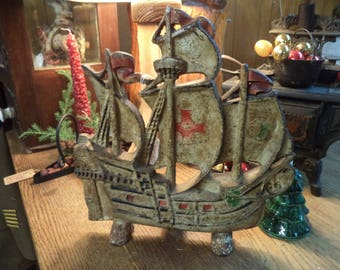 Vintage cast iron pirate ship doorstop galleon great old paint