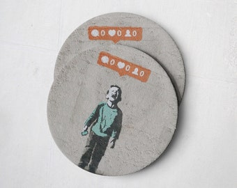 Banksy Drink Coasters – Absorbent Coaster Set of 10 – Coasters for Women & Men – Heavyweight Reusable Thick Pulpboard - Kid With No Likes