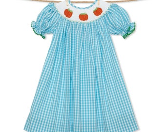 Turquoise Gingham Pumpkin Smocked Dress