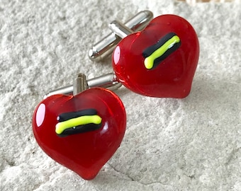 Red Glass Heart Cufflinks - Red Love Hearts with a Textured Layer Detail in Black and Yellow - Silver T-Bar Fittings - Gift Boxed