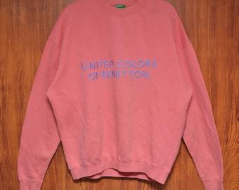 Vintage United Colors of Benetton Spellout Embroidery logo Crewneck Sweatshirt