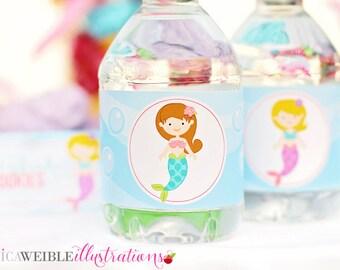 Mystical Mermaid Theme Printable Water Bottle Wrappers, Mermaid Bottle Labels, Instant Download, Mermaid Party Printable Wrapper, Mermaids