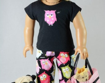 3 piece PAJAMA set in PINK black with appliqued top and Overnight BAG for American Girl Doll or other 18 inch doll