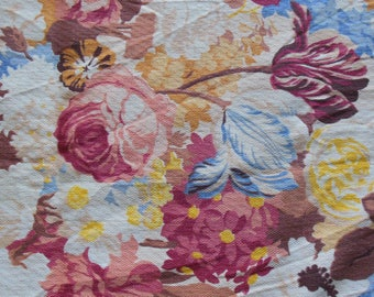 Floral Barkcloth Fabric, Floral Earthtoned Colors