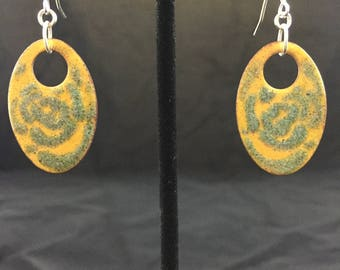 Yellow and Aqua Flower Enamel Earrings