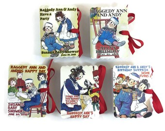 Raggedy Ann Andy Party Favors Book Box   Boy Girl Birthday   Book Themed Baby Shower Party Favor   Storybook Favor   Personalized Custom 10