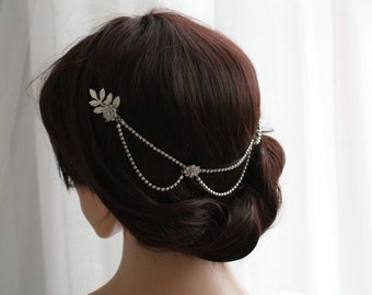 Silver hair chain with drapes - Bridal Headpiece - Hair Jewellery - Bohemian wedding headpiece for back of the head - UK