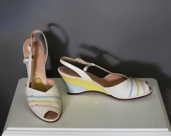 Vintage Shoes 40s Leather Wedge 7.5 AA Peeptoe Slingback White Pink Yellow Blue