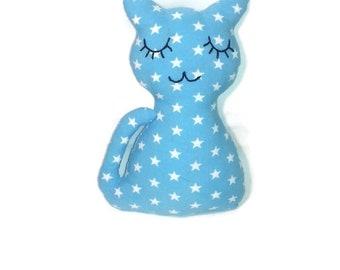 Doudou chat en tissu bleu motifs étoile