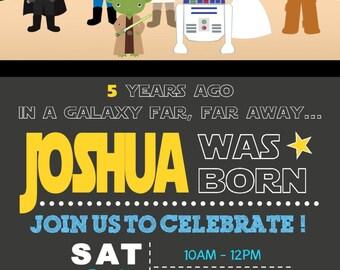 """Star Wars invitation, Star Wars kids invitation, Star Wars Birthday invitation, Star Wars Chalkboard invitation. 4x6"""" and 5x7"""" sizes"""