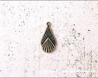 Art déco boucle d'oreille ou pendentif goutte en laiton poli Antuqued (article 1111 AG) - 24 pièces