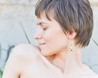 Wooden dice earrings Wood burned gamers jewelry Pyrography earrings Dnd fan girl earrings Geeky jewelry Lucky girl's earrings Woood earrings