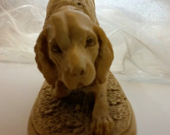 A. SANTINI SCULPTURE Pointing Dog Signed By Artist From Marble/Alabaster Composite Vintage From The 1950's Statue of Irish or English Setter