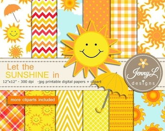 50% OFF Sun Digital Papers and cliparts, clouds, Umbrella Cliparts, summer, Sunshine for Digital Scrapbooking, invitations, Planners