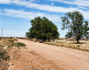 Open Road Route 66 Photo Art — Southwestern Red Dirt Road Photograph — Big Blue Texas Sky — Roadside America Photos by Liberty Images