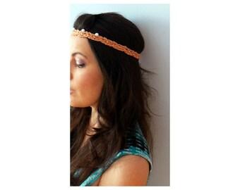 Pearls crochet thin hairband- Bohemian crochet pearls crown- White grey stretch headband. Summer dainty crochet headband-Women red gift