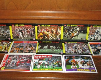 NFL Super Bowl Football Live Action Sport Cards– 13 Cars in Total – Past Super Bowl from 1960's to 1980's