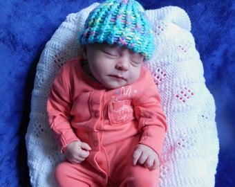 Acrylic Wool Baby Hat - Mermaid Green