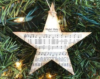 Star Music Ornament Christmas, Rustic Star Ornament, Rustic Christmas Music Ornament, Christmas Hymn Ornament, Star Sheet Music Ornament