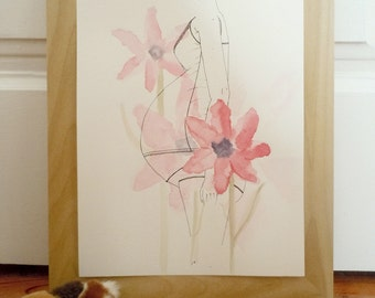 Blossom pregnancy - art print from original watercolor and ink illustration