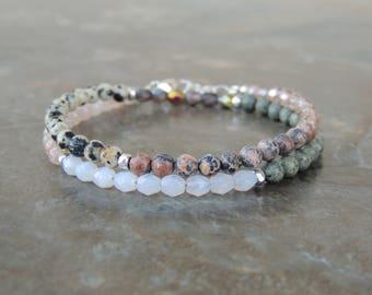 Nature Jewelry - Boho Bracelet - Stone Bracelet for Her - Jasper Bracelet - Sunstone Bracelet - Wrap Bracelet for Women - Girlfriend Gift